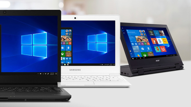 Windows 10 S: Erste Notebooks © Acer, Toshiba, Samsung, ©istock.com/Spiderstock