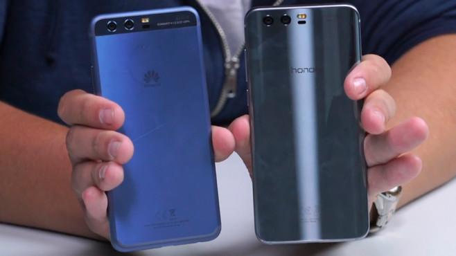 Honor 9 im Praxis-Test: Ein P10 – für 200 Euro weniger! Das Huawei P10 (links) und das Honor 9 im direkten Vergleich – bei der Rückseite fallen die Unterschiede am stärksten aus. ©COMPUTER BILD