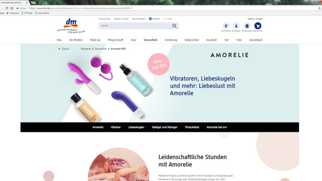 Sexspielzeug bei dm ©Screenshot dm.de