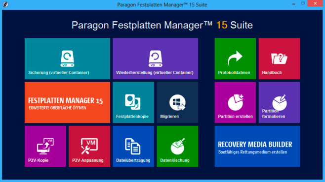 Festplatten Manager 15 Suite © Paragon