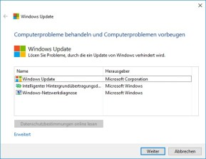 Windows-Update-Problembehandlung (Troubleshooter)