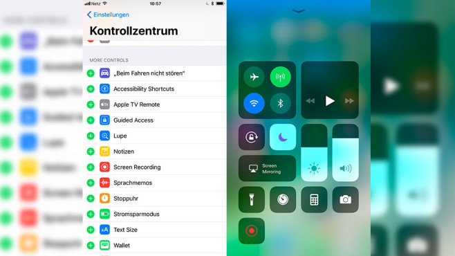 iOS 11: Videoaufnahmen via Kontrollzentrum © Screenshot: Apple