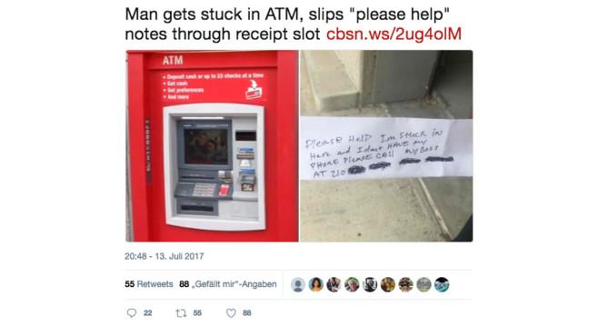 ATM Geldautomat und Papierfetzen mit Hilfe-Nachricht ©Screenshot Twitter / CBS NEWS