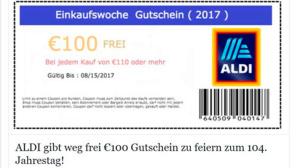 Aldi 100-Euro-Gutschein ©Mimikama