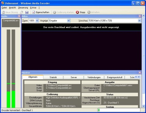 Screenshot 1 - Windows Media Encoder 9
