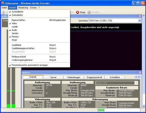 Screenshot 3 - Windows Media Encoder 9
