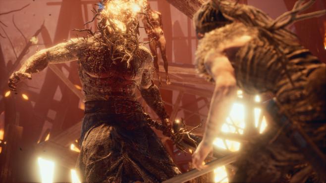 Hellblade – Senua's Sacrifice: Gruß aus der Hölle! Die Bewegungsfreiheit beim Kampf gegen furcht erregende Dämonen ist eingeschränkt, dennoch eine spannende Angelegenheit. ©Ninja Theory