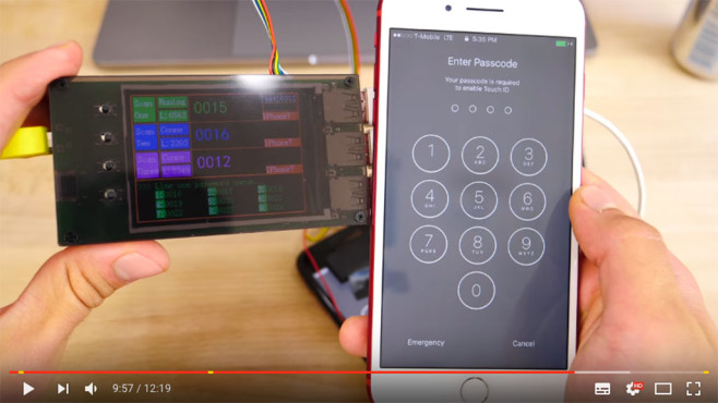 Gadget zum Hacken des iPhones © Screenshot YouTube https://www.youtube.com/watch?v=IXglwbyMydM