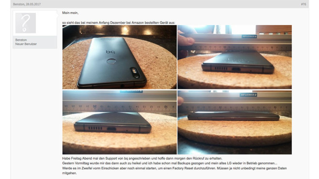 Wellige Rückseite des BQ Aquaris X5 Plus ©Screenshot Android-Hilfe https://www.android-hilfe.de/forum/bq-aquaris-x5-plus.2775/rueckseite-hat-eine-beule-akku-aufgeblaeht.831716-page-4.html