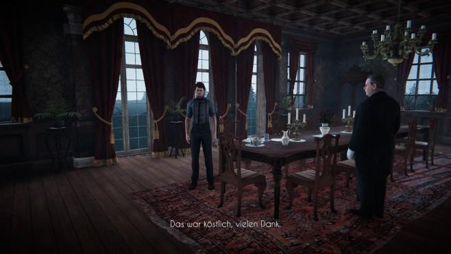Black Mirror im Test: Schrecklich schönes Spiegelbild Butler Mr. McKinnon macht keinen Hehl aus seiner Abneigung gegenüber David. Immerhin serviert er zum Frühstück ein paar schottische Spezialitäten im schicken Speisesaal. ©King Art