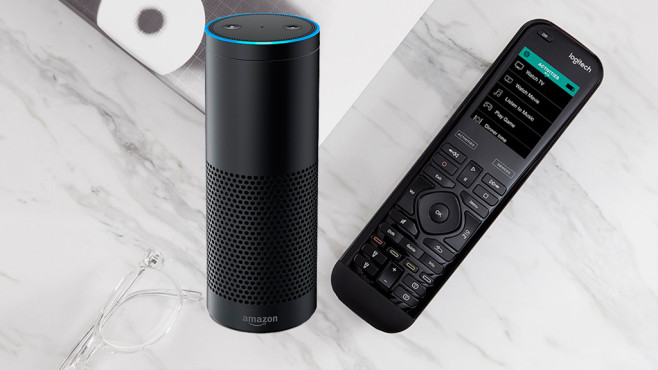 Logitech Harmony Elite, Amazon Echo © Logitech, Amazon