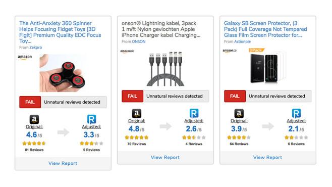 Gefälschte Amazon-Bewertungen ©Reviewmeta