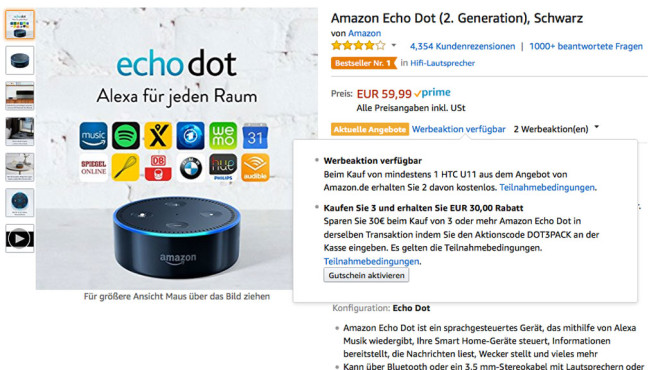 amazon echo dot g nstiges dreierpack computer bild. Black Bedroom Furniture Sets. Home Design Ideas