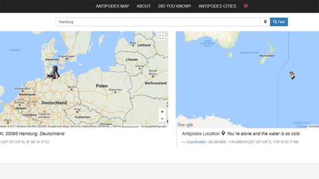 Antipodes Map: Karte ©Antipodes Map