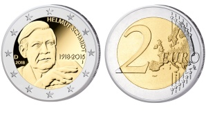 2-Euro-Münze mit Helmut Schmidt ©BVA, Bodo Broschat, Hans-Joachim Wuthenow