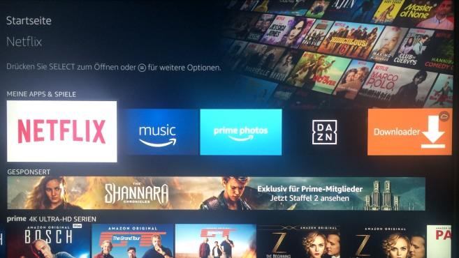 Amazon Fire TV mit 4K Ultra HD und HDR: Die neue Streaming-Box im Test Die Benutzeroberfläche vom Amazon Fire TV ist gleich geblieben – mit guter Auswahl an Apps für Streaming-Dienste und Mediatheken. ©COMPUTER BILD