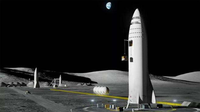 SpaceX: So stellt sich Elon Musk eine Mondbasis vor Die potenzielle Mondbasis von SpaceX besteht aus mehreren Raketen, die per Mondfahrzeug verbunden sind. ©SpaceX