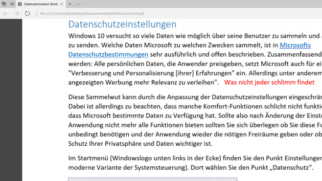 PDF-Datei da weiterlesen, wo geschlossen ©COMPUTER BILD