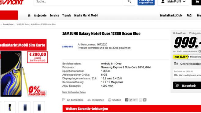 Samsung Galaxy Note 9: Test, Preis, Release – alle Infos! Erstaunlich: Schon kurz nach der Vorstellung lässt sich beim Note-9-Kauf ordentlich sparen. So zieht Media Markt in Österreich direkt 200 Euro ab.©Media Markt