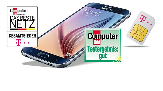 Galaxy S6 und Preiskracher-Flat sichern. ©Samsung/Telekom/GetHandy/Mobilcom Debitel/COMPUTER BILD