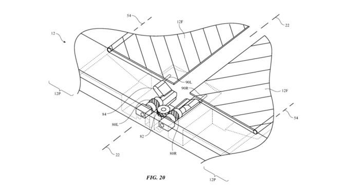 Faltbares iPhone: Apple meldet Patent an Mit zwei beweglichen Klappen, im Bild mit der Zahl 84 gekennzeichnet, will Apple seinem Faltdisplay Halt verleihen.©United States Patent and Trademar Office