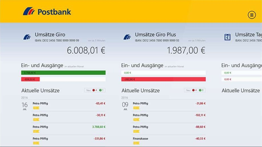 Screenshot 1 - Postbank Finanzassistent (App für Windows 10 & 8)