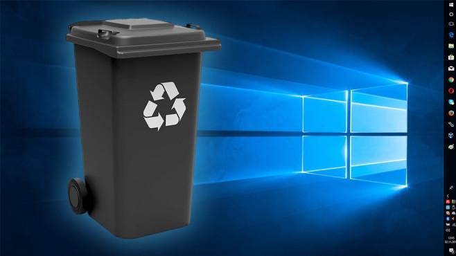 Kostenloses Wegwerf-Windows: Das widerstandsfähige Betriebssystem©Fotolia--Thomas Söllner-Mülltonne schwarz