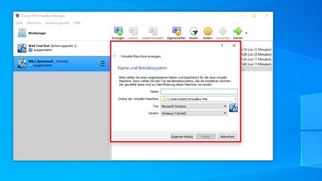 VirtualBox-Snapshots: Wegwerf-Windows – experimentieren und hemmungslos surfen©COMPUTER BILD