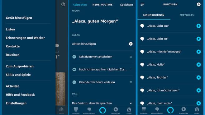 Alexa-App und das Erstellen von Routinen©Amazon