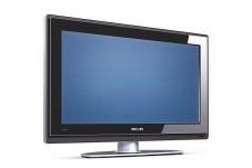 Auf dem gläsernen Fuß lässt sich der LCD-Fernseher per Hand um rund 320 Grad nach rechts und links drehen.