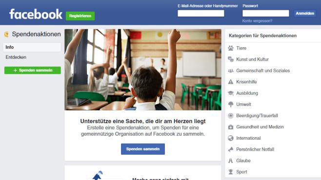 Faacebook-Spenden©Screenshot https://www.facebook.com/fundraisers
