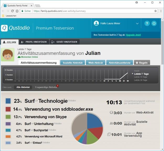 Screenshot 1 - Qustodio