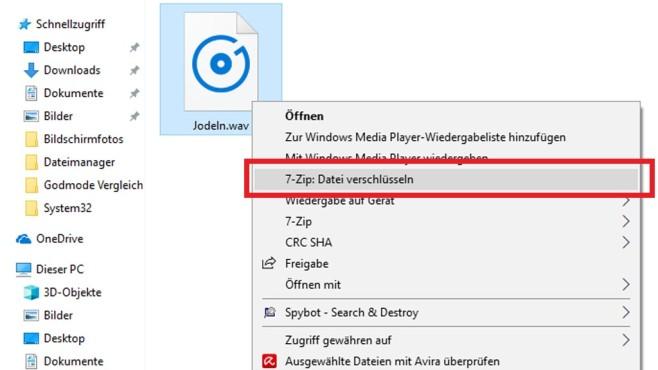 7-Zip: Dateien ohne Passworteingabe verschlüsseln©COMPUTER BILD