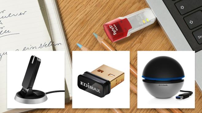 WLAN-Sticks©AVM, TP-Link, Edimax, D-Link