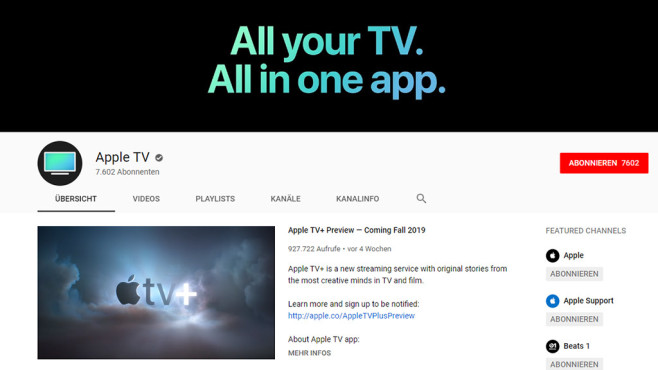 Apple TV auf YouTube © Apple / YouTube