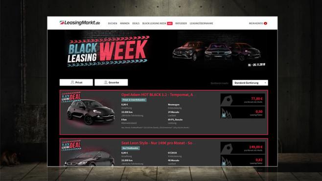 Black Leasing Week bei Leasingmarkt©Screenshot Webseite www.leasingmarkt.de, arquiplay77 - Fotolia.com