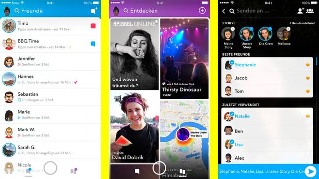 Snapchat neues Design Update Freunde Entdecken©Snap Inc.