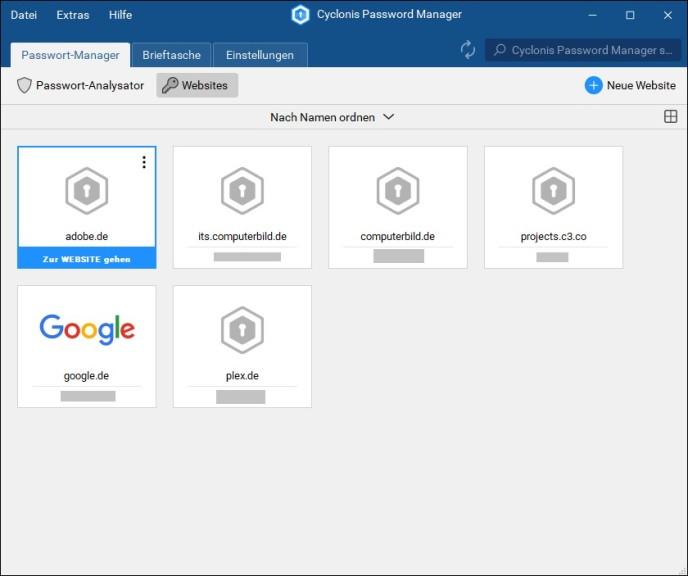 Screenshot 1 - Cyclonis Password Manager