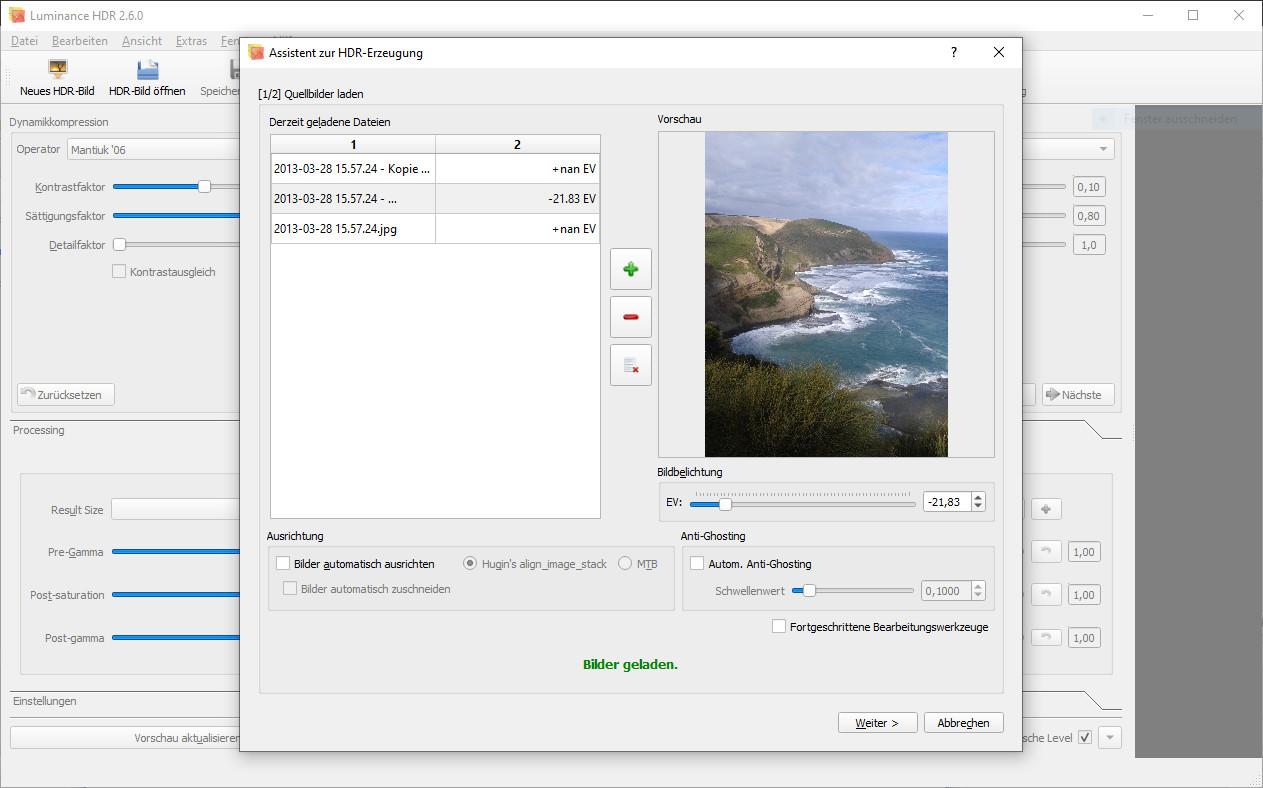 Screenshot 1 - Luminance HDR