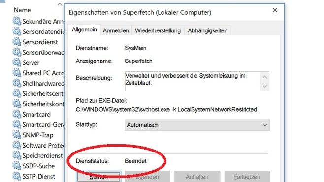 Windows 10 1703: Auslagerungsdatei-Tuning legt SuperFetch © COMPUTER BILD