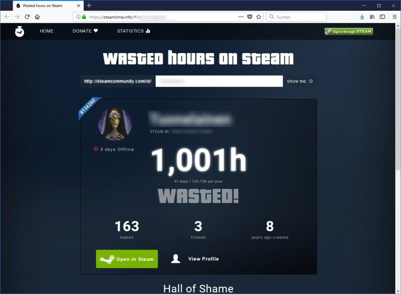 Screenshot 1 - Wasted hours on Steam