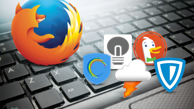 Browser-Add-ons hinterfragen © ©istock.com/virusowy, Mozilla, DuckDuckGo, AnchorFree Inc., Giorgio Maone (Flashgot), Stefan vd (Turn Off the Lights), ZenMate