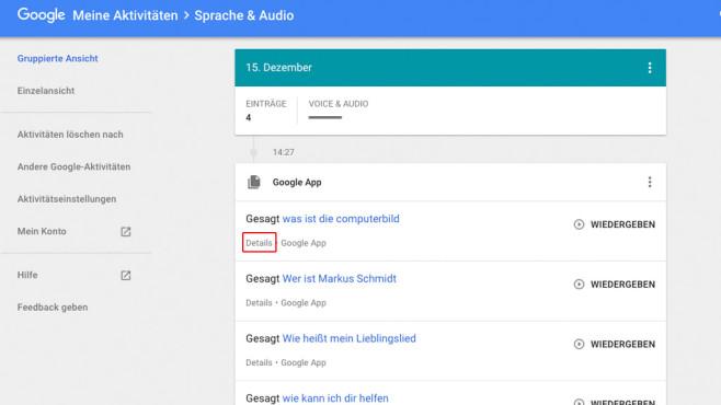 Google Assistant: Sprachaufzeichnungen löschen Unter  listet der Google den gesamten Gesprächsverlauf zwischen Ihnen und dem Sprachassistenten minutiös auf. Praktisch: Immerhin lassen sich die Daten bei Bedarf löschen.©COMPUTER BILD