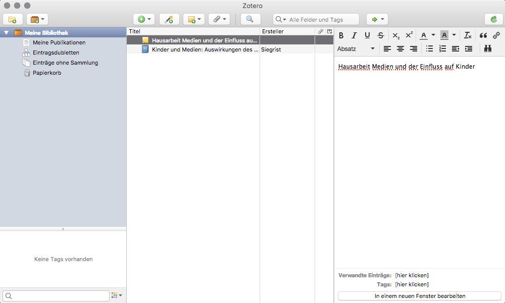 Screenshot 1 - Zotero (Mac)