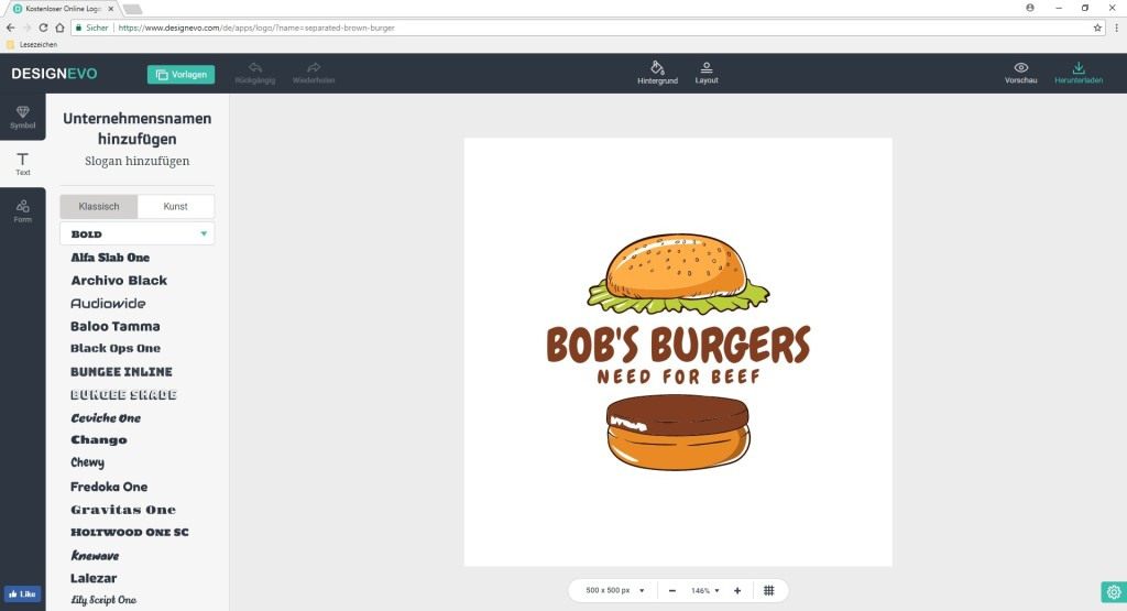 Screenshot 1 - DesignEvo: Logos kostenlos online erstellen