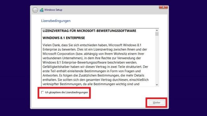 Leertaste – Windows-EULA zustimmen ©COMPUTER BILD