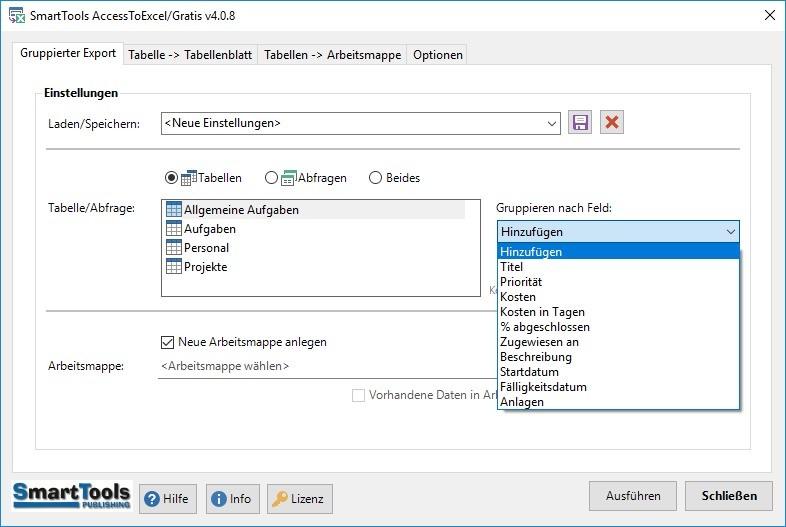 Screenshot 1 - SmartTools AccessToExcel für Access