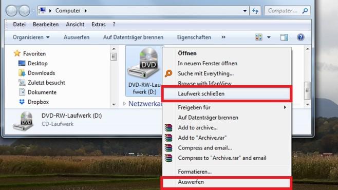 Windows 7/8/10: CD-/DVD-Laufwerk per Kontextmenü schließen©COMPUTER BILD