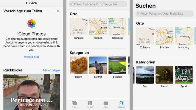Apple iOS 12: Fotos-App © COMPUTER BILD