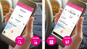 Smartphone mit Park and Joy App © Telekom